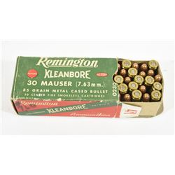 50 Rounds Remington 30 Mauser 85 Gr. M.C.