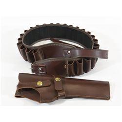 Leather Pistol Holster and Shotshell Belt