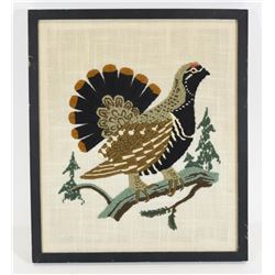 Spruce Grouse Needlepoint Framed