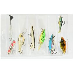 Fishing Lures in Plastic Container