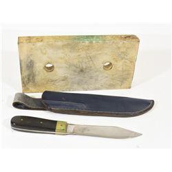 Custom Green River Style Knife & Ceramic Sharpener