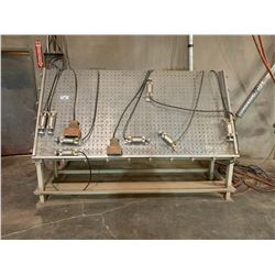 UNIQUE MODEL 280 8' X 4'  ADJUSTABLE PNEUMATIC CLAMP TABLE WITH 2 FOOT PEDALS