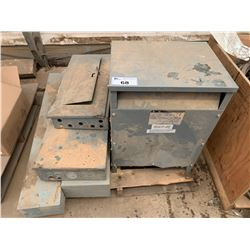 PALLET OF ASSORTED TRANSFORMER, ELECTRICAL BOXES & SHUT OFF