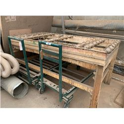 2 GREEN MOBILE CONVEYOR CARTS & LARGE WHITE CONVEYOR SYSTEM