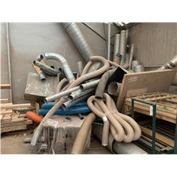 GAS SHOP HEATER & ASSORTED DUCTING LOCATED IN CORNER