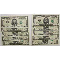 PARTIAL SET OF 1988 $5.00 FEDERAL RESERVE NOTES