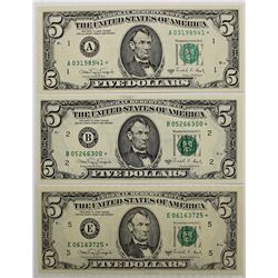 THREE 1988-A $5.00 FEDERAL RESERVE STAR NOTES