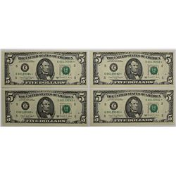 FOUR 1988-A $5.00 RICHMOND FEDERAL RESERVE NOTES