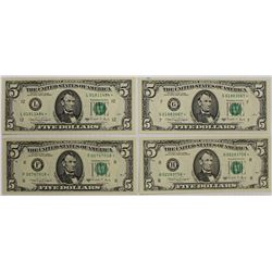 FOUR 1988-A $5.00 FEDERAL RESERVE STAR NOTES: