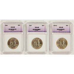 1957, 1956, AND 1954-S FRANKLIN HALF DOLLARS
