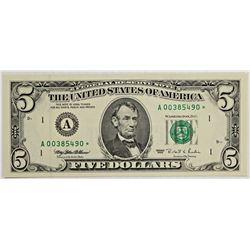 RARE! 1995 BOSTON $5.00 FEDERAL RESERVE STAR NOTE