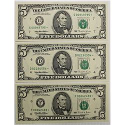 THREE 1995 $5.00 FEDERAL RESERVE STAR NOTES: