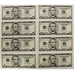 EIGHT DIFFERENT 1999 FEDERAL RESERVE NOTES: