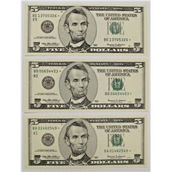 THREE 1999 $5.00 FEDERAL RESERVE STAR NOTES: