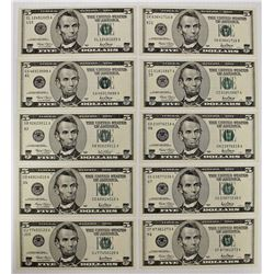 TEN DIFFERENT 2001 $5.00 FEDERAL RESERVE NOTES