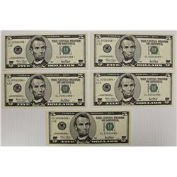 FIVE 2001 $5.00 FEDERAL RESERVE STAR NOTES: