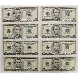EIGHT PCS. 2001 $5.00 DALLAS STAR NOTES