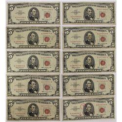 10 PCS. $5.00 RED SEALS U.S. NOTES