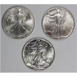1987, 1991, AND 1999 AMERICAN SIVLER EAGLES