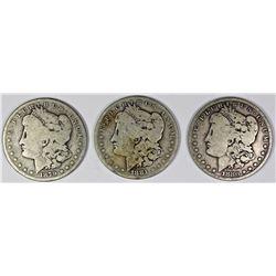 1880, 1881, AND 1879 MORGAN SILVER DOLLARS