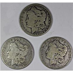 1901-O, 1888-O, AND 1882 MORGAN SILVER DOLLARS