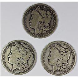 1887-O, 1880-O, AND 1885-O MORGAN SILVER DOLLARS