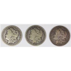 1889, 1899-O, AND 1879 MORGAN SILVER DOLLARS