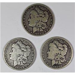 1878, 1884, AND 1886 MORGAN SILVER DOLLARS