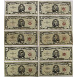 10 PCS. RED SEAL $5.00 U.S. NOTES