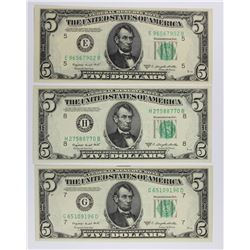 (3) 1950-C $5.00 FEDERAL RESERVE NOTE