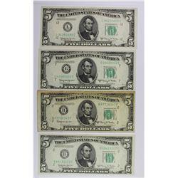 (4) 1950-E $5.00 FEDERAL RESERVE NOTES