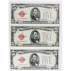 (3) 1928-B $5.00 U.S. NOTES