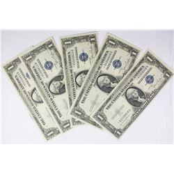 (5) PIECE 1935-D $1.00 SILVER CERTIFICATES