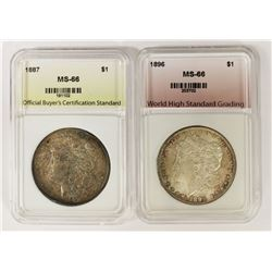 1896 AND 1887 MORGAN SILVER DOLLARS: