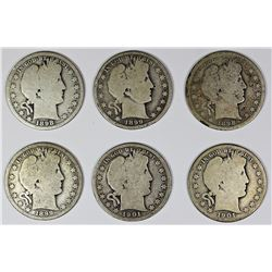 SIX BARBER HALF DOLLARS