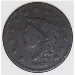 1839/6 LARGE CENT VG FINE