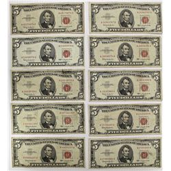 10 PCS. $5.00 RED SEAL U.S. NOTES