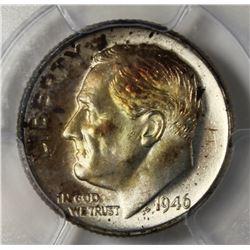 1946 ROOSEVELT DIME PCGS MS67