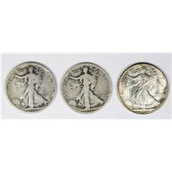 THREE WALKING LIBERTY HALF DOLLARS