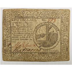 COLONIAL CURRENCY $2.00 CONGRESS 11-29-1775