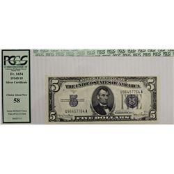 1934-D $5.00 SILVER CERTIFICATE