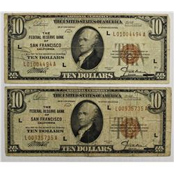 TWO 1929 $10.00 FEDERAL RESERVE BANK