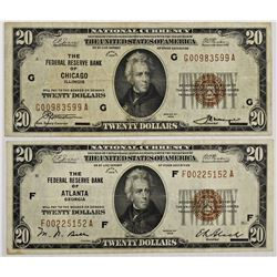 TWO 1929 $20.00 FEDERAL RESERVE BANK: