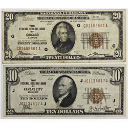 TWO 1929 FEDERAL RESERVE BANK NOTES:
