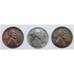 SET OF THREE OLD TIME NOT AUTHENTIC LINCOLN CENTS: