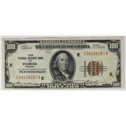 1929 $100.00 FEDERAL RESERVE BANK RICHMOND