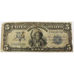 1899 $5.00 SILVER CERTIFICATE INDIAN CHIEF