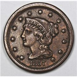 1857 LARGE CENT SMALL DATE XF+