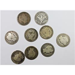NINE DIFFERENT CIRCULATED BARBER HALF DOLLARS