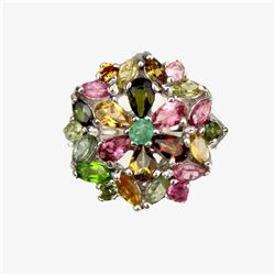 Natural Emerald & Fancy Tourmaline Ring